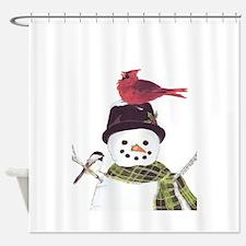Cardinal Snowman Shower Curtain