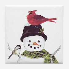 Cardinal Snowman Tile Coaster