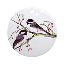 Male and Female Chickadees Ornament (Round)