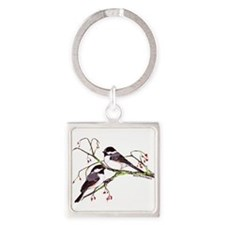 Male and Female Chickadees Square Keychain