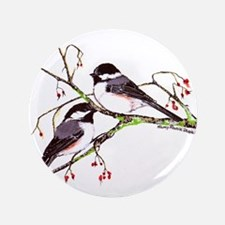"Male and Female Chickadees 3.5"" Button"