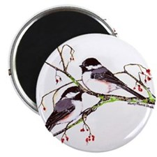Male and Female Chickadees Magnet