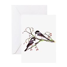 Male and Female Chickadees Greeting Card