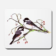 Male and Female Chickadees Mousepad