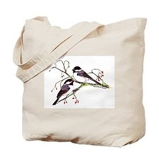 Male and Female Chickadees Tote Bag