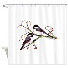 Male and Female Chickadees Shower Curtain