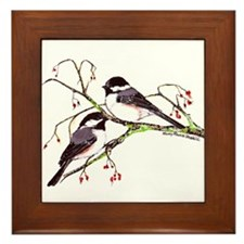 Male and Female Chickadees Framed Tile