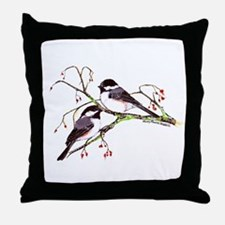 Male and Female Chickadees Throw Pillow