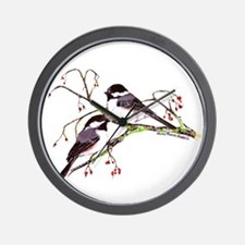 Male and Female Chickadees Wall Clock