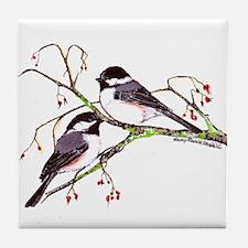 Male and Female Chickadees Tile Coaster