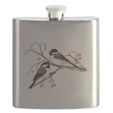 Male and Female Chickadees Flask