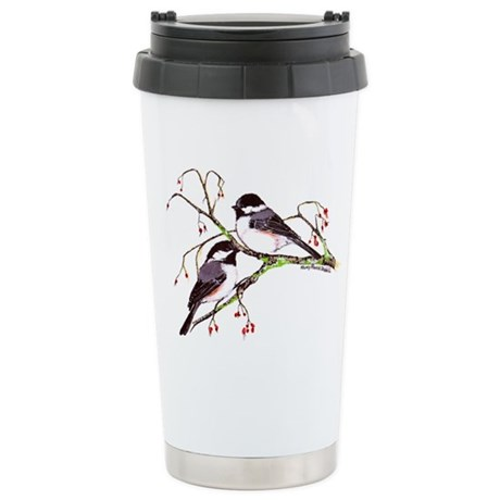 Male and Female Chickadees Stainless Steel Travel