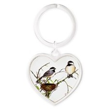Chickadee inspection Heart Keychain