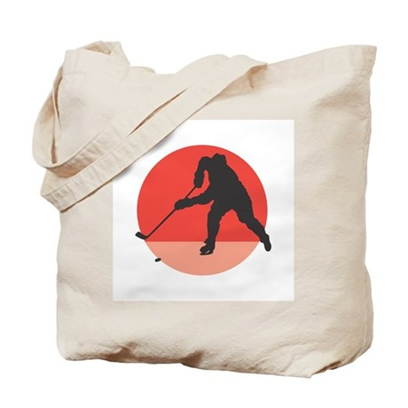 Hockey Player Silhouette Tote Bag