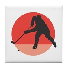 Hockey Player Silhouette Tile Coaster