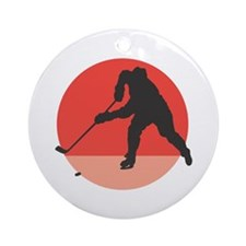 Hockey Player Silhouette Ornament (Round)