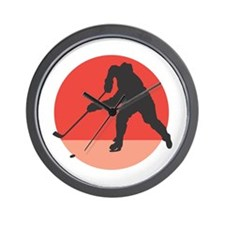 Hockey Player Silhouette Wall Clock
