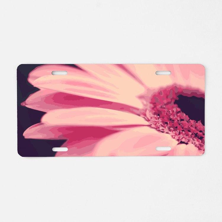 Pretty Pink Gerbera Daisy Aluminum License Plate