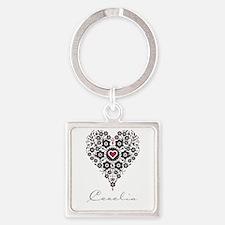 Love Cecelia Square Keychain