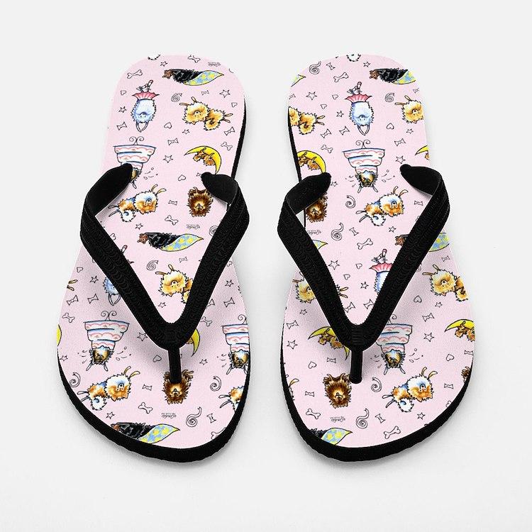 Pomeranian Pattern Pink Flip Flops