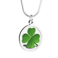 shamrock Silver Round Necklace