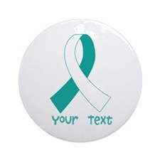 Personalized Cervical Cancer Ribbon Ornament (Roun