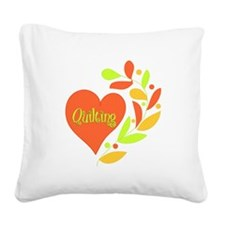 Quilting Heart Square Canvas Pillow