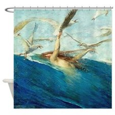 Vintage Mermaid Seagulls Shower Curtain