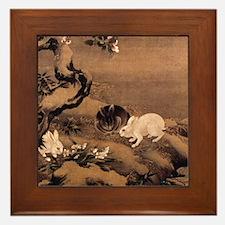Asian Rabbits Framed Tile