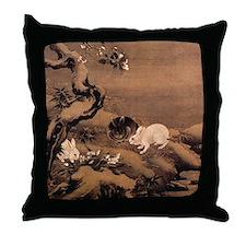 Asian Rabbits Throw Pillow