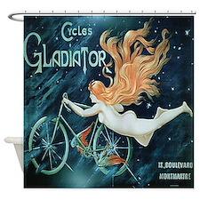 Vintage Paris Bicycle Shower Curtain
