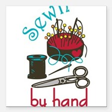 """Sewn By Hand Square Car Magnet 3"""" x 3"""""""