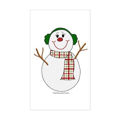Snowman Christmas Earmuffs Rectangle Sticker