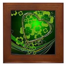Heart And Shamrocks Framed Tile