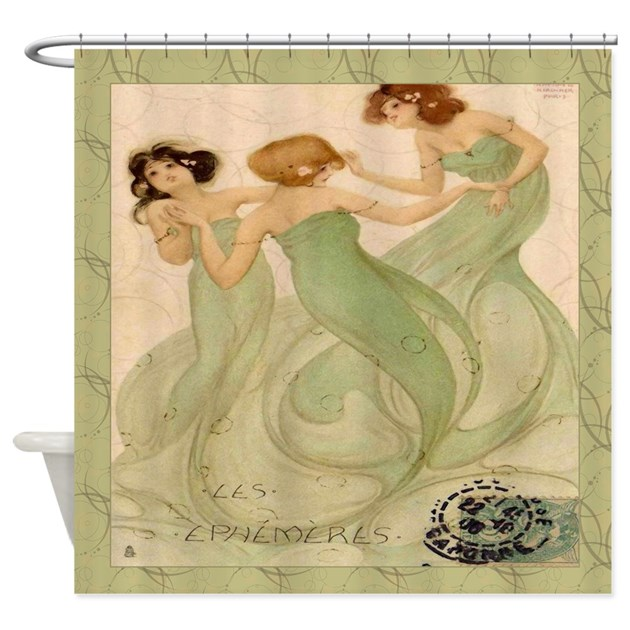 Vintage french mermaid shower curtain by rebeccakorpita Vintage shower curtains