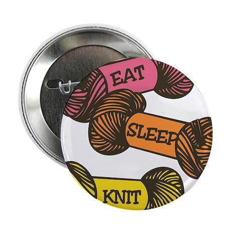 """Eat Sleep Knit 2.25"""" Button"""
