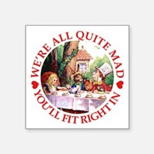 """MAD HATTER'S TEA PARTY Square Sticker 3"""" x 3"""""""