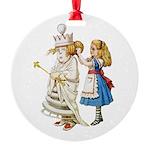 ALICE & THE WHITE QUEEN Round Ornament
