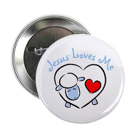 """Jesus Loves Me - Blue Lamb 2.25"""" Button (100 pack)"""