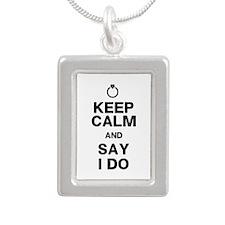 Keep Calm Say I Do Silver Portrait Necklace
