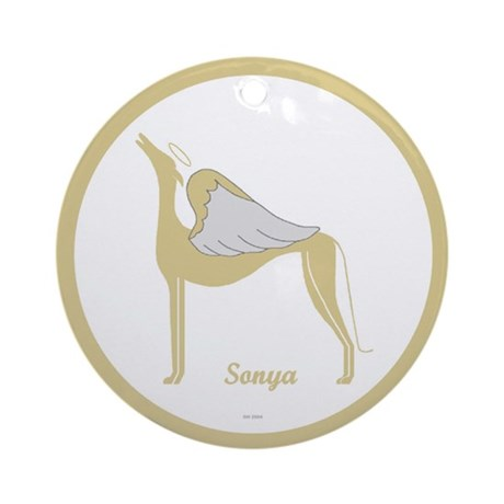 SONYA ANGEL GREY ROUND ORNAMENT