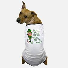 Funny Tough Lucky Drunk Leprechaun Dog T-Shirt
