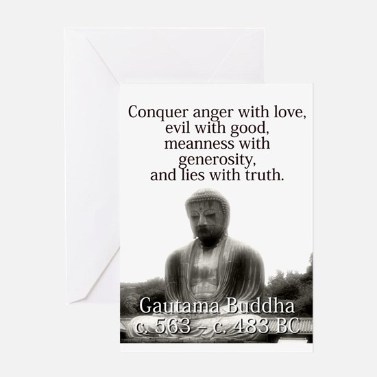 Conquer Anger With Love - Buddha Greeting Cards