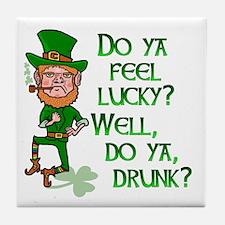 Funny Tough Lucky Drunk Leprechaun Tile Coaster