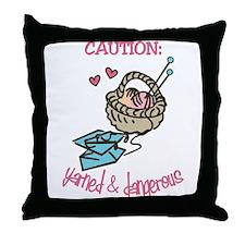 Yarned & Dangerous Throw Pillow