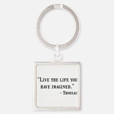 Thoreau Quote Square Keychain