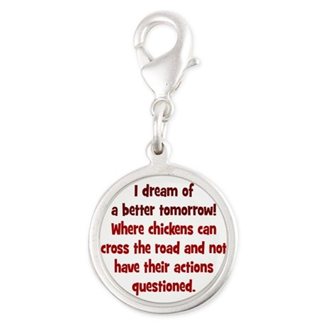 Chickens Cross the Road Silver Round Charm