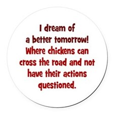 Chickens Cross the Road Round Car Magnet