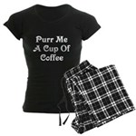Purr Me A Cup of Coffee Women's Dark Pajamas