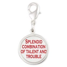 Talent and Trouble Silver Round Charm